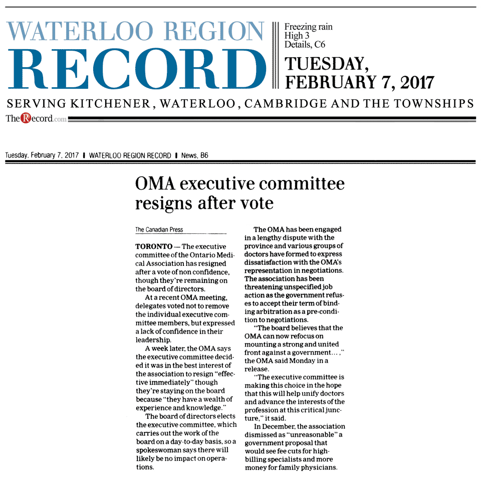 Waterloo Record 2017-02-07 - OMA executive committee resigns